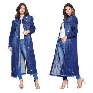 Jackets & Blazers - Just in! Long Distressed Dark Denim Jacket